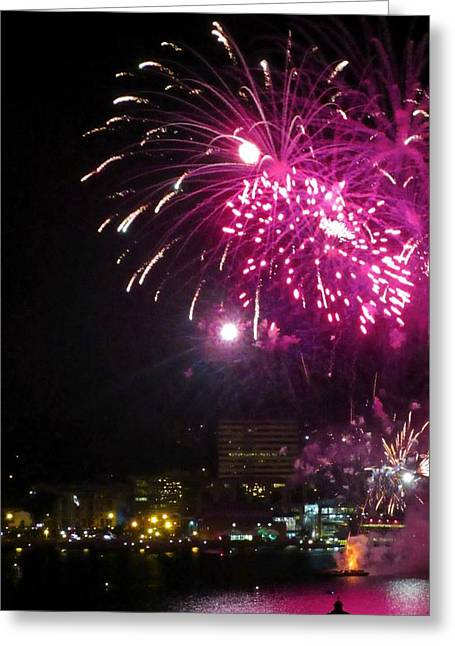 Pyrotechnics Greeting Cards - Fireworks over Halifax Harbor Greeting Card by Crystal Loppie