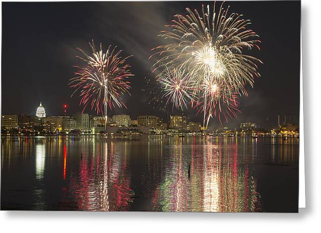 Lake Mendota Greeting Cards - Fireworks Over Lake Monona Greeting Card by Gregory Payne