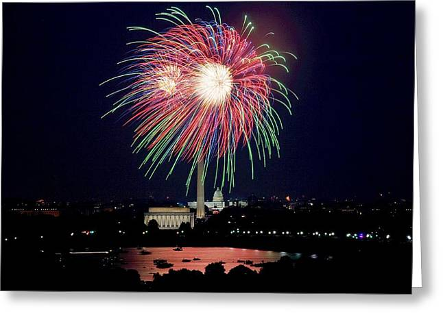 American Independance Greeting Cards - Fireworks over the Pentagon Greeting Card by FL collection