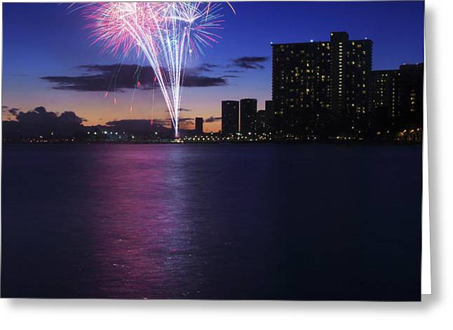 Fireworks over Waikiki Greeting Card by Brandon Tabiolo - Printscapes