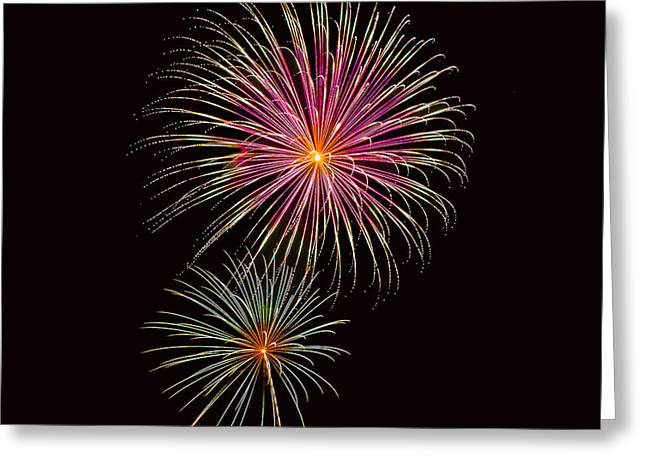 Pyrotechnics Greeting Cards - Fireworks Pink and Green Greeting Card by Karen Martin
