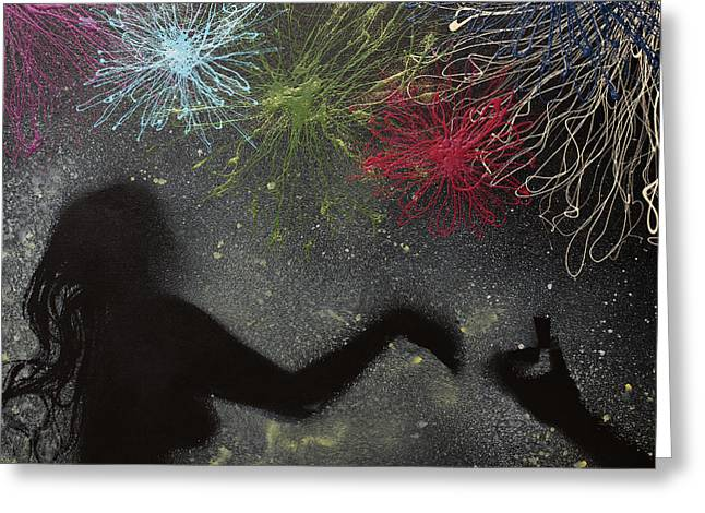 4th July Paintings Greeting Cards - Fireworks Proposal Greeting Card by April Kasper