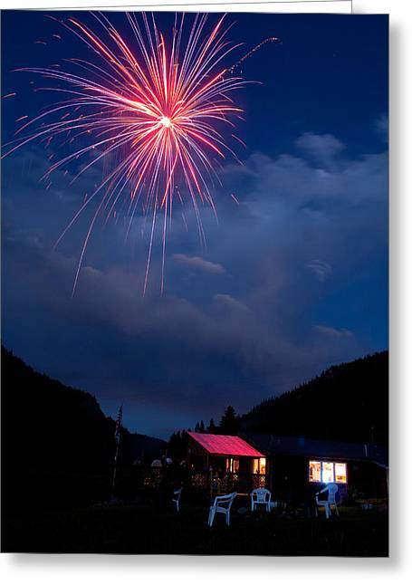 July 4th Image Greeting Cards - Fireworks show in the Mountains Greeting Card by James BO  Insogna