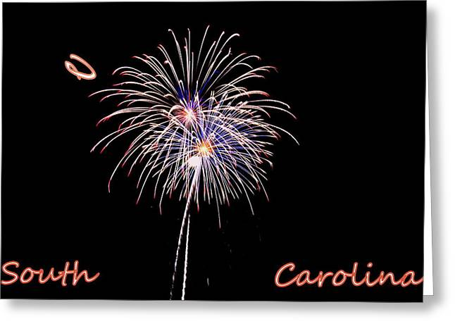 4th July Greeting Cards - Fireworks South Carolina Greeting Card by Lisa Wooten