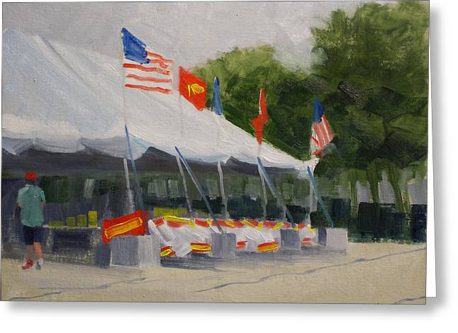 4th July Paintings Greeting Cards - Fireworks Tent Greeting Card by Robert Rohrich