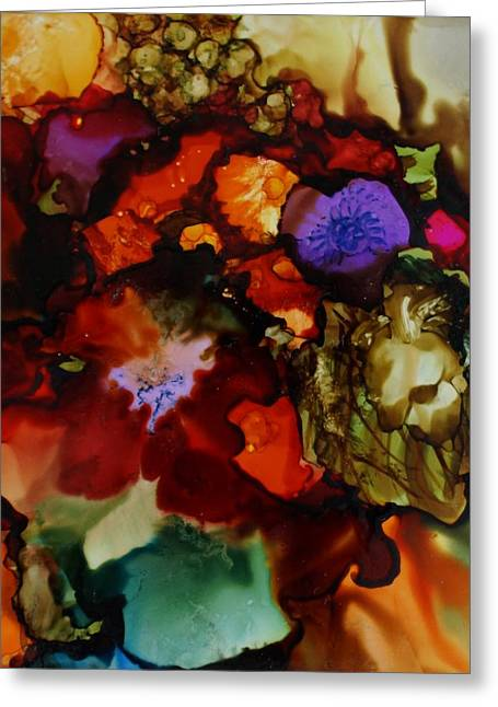 Alcohol Inks Greeting Cards - Firey Floral Greeting Card by Joanne Smoley
