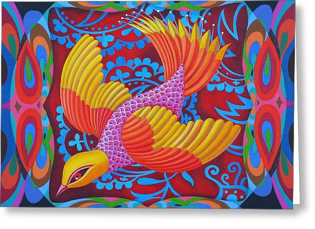 Birds Of A Feather Greeting Cards - Firey-tailed flier Greeting Card by Jane Tattersfield