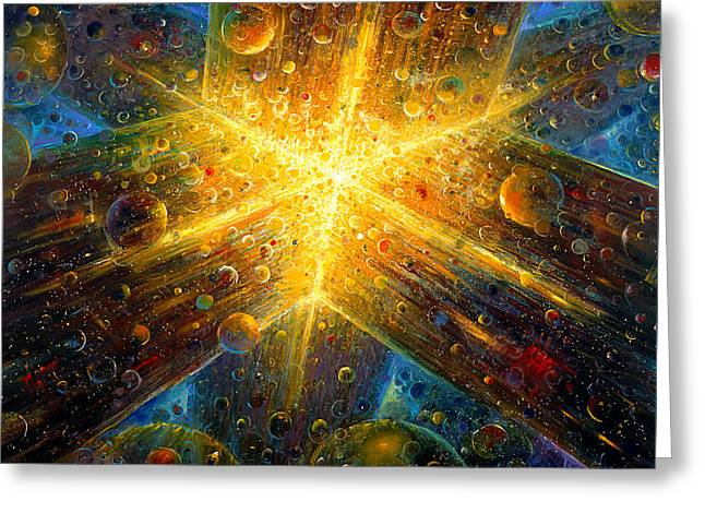Galactic Paintings Greeting Cards - Firmament Greeting Card by De Es Schwertberger