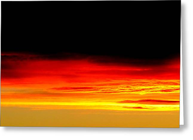 Greeting Cards - Fire in the Sky. Greeting Card by Joyce Woodhouse