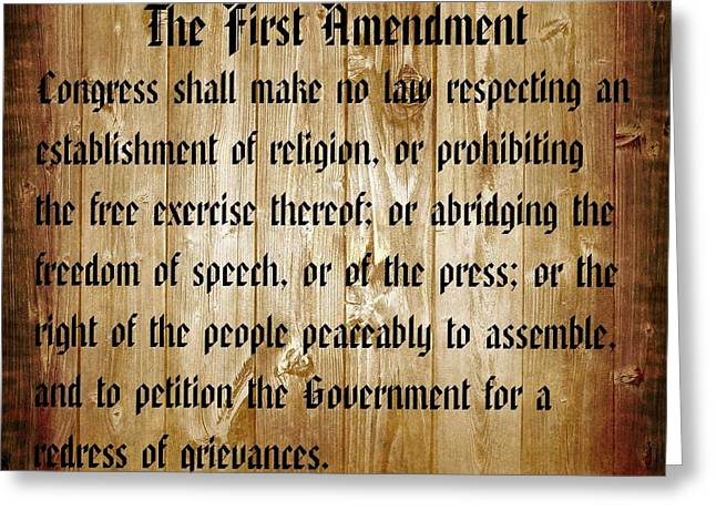 Speeches Mixed Media Greeting Cards - First Amendment Barn Door Greeting Card by Dan Sproul