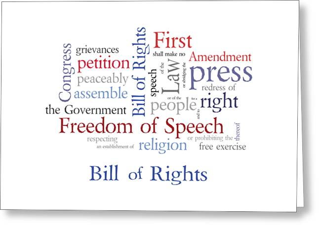 Free Speech Greeting Cards - First Amendment - Bill of Rights Greeting Card by Antique Images