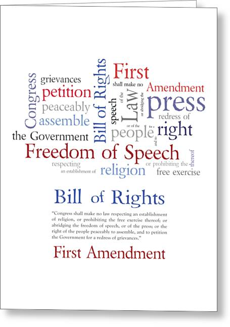 Free Speech Greeting Cards - First Amendment Freedom of Speech Greeting Card by Antique Images
