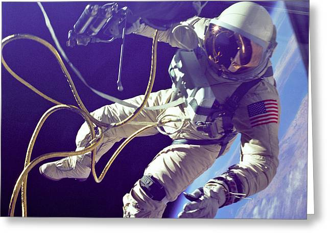 First American Walking In Space, Edward Greeting Card by NASA
