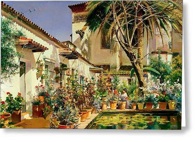Catholic work Paintings Greeting Cards - First Atrium of Santa Paula Convent Seville Greeting Card by Manuel Garcia y Rodriguez