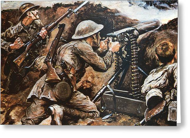 First Battle Of The Somme Greeting Card by Stanley L Wood