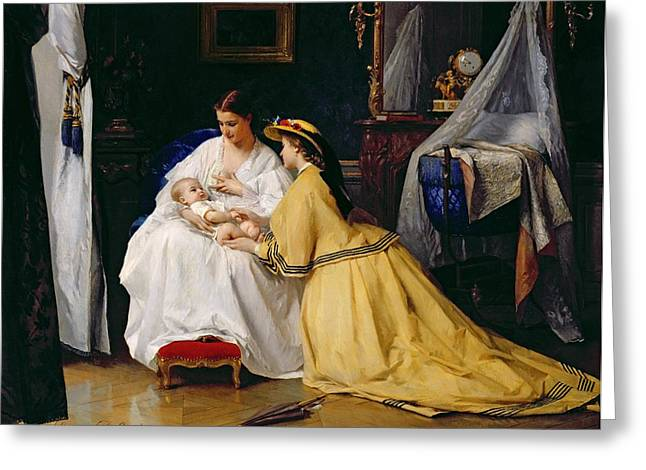 Visit Greeting Cards - First Born Greeting Card by Gustave Leonard de Jonghe