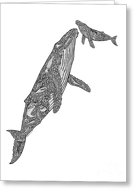 Whale Drawings Greeting Cards - First Breath Greeting Card by Carol Lynne