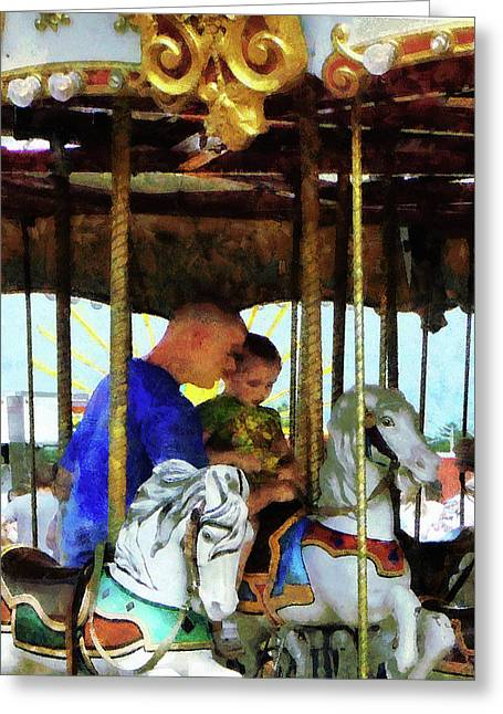 Go Daddy Greeting Cards - First Carousel Ride Greeting Card by Susan Savad