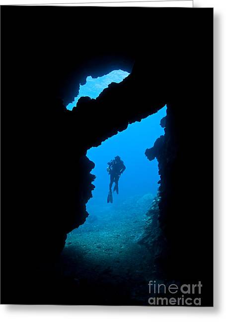 Second Hole Greeting Cards - First Cathedral Diver Greeting Card by Dave Fleetham - Printscapes