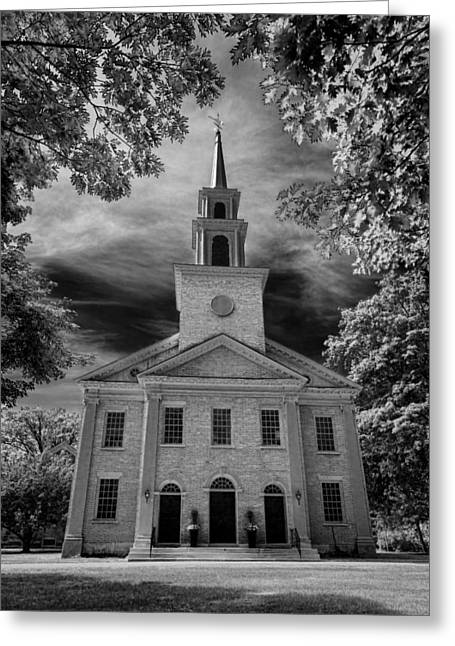 Religious Photographs Greeting Cards - First Congregational Church of Stockbridge Greeting Card by Stephen Stookey