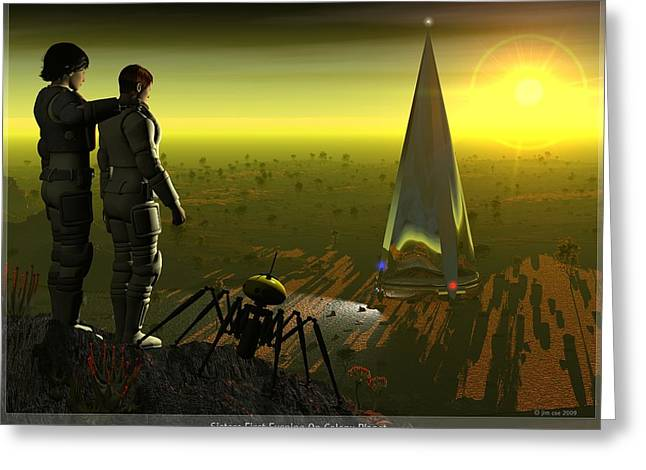 First Evening On Colony Planet Greeting Card by Jim Coe