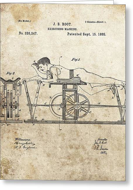 First Exercise Machine Patent Greeting Card by Dan Sproul