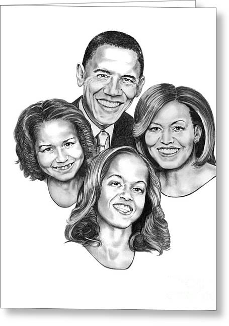 Obama Family Greeting Cards - First Family Greeting Card by Murphy Elliott