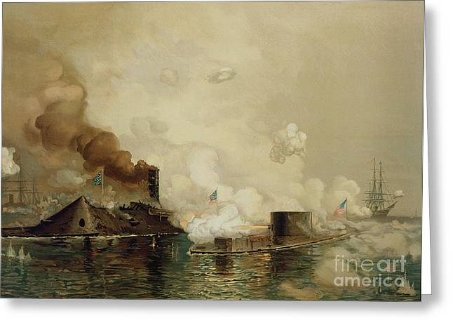 Fighting Greeting Cards - First Fight between Ironclads Greeting Card by Julian Oliver Davidson