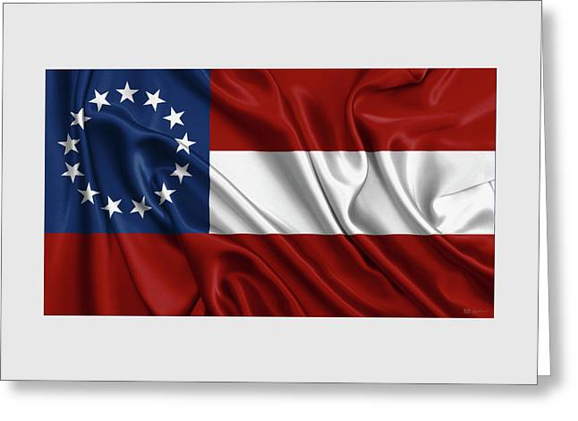 First Flag Of The Confederate States Of America - Stars And Bars 1861-1863 Greeting Card by Serge Averbukh