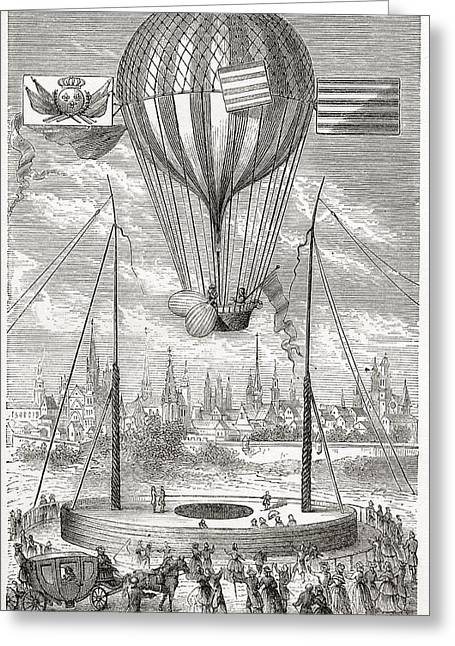 Aeronautical Greeting Cards - First Flight With A Dirigible Balloon Greeting Card by Ken Welsh