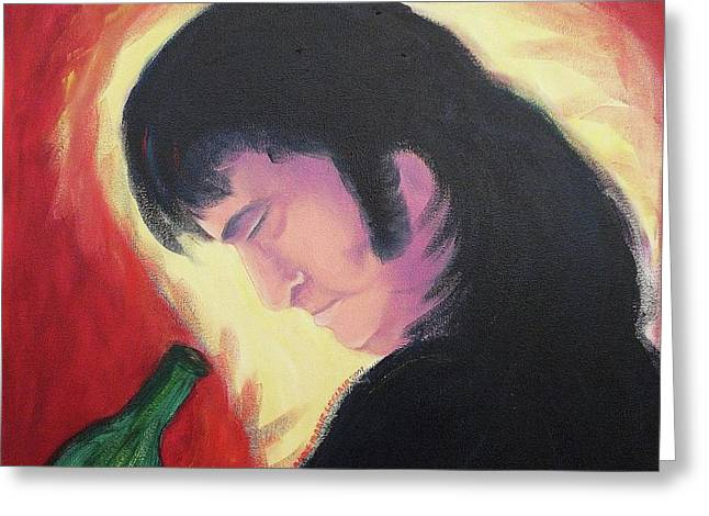 Sideburns Paintings Greeting Cards - First glance Greeting Card by Suzanne  Marie Leclair