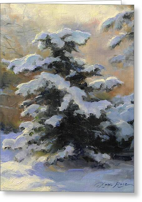 Snowy Trees Greeting Cards - First Heavy Snow Greeting Card by Anna Rose Bain