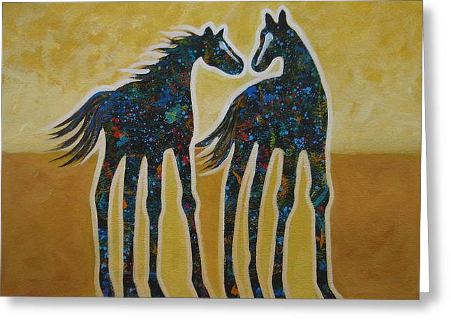 Arizona Contemporary Cowgirl Greeting Cards - First Kiss Greeting Card by Lance Headlee