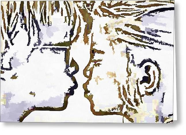 First Love Greeting Cards - First Kiss Pop Art Greeting Card by Catherine Lott