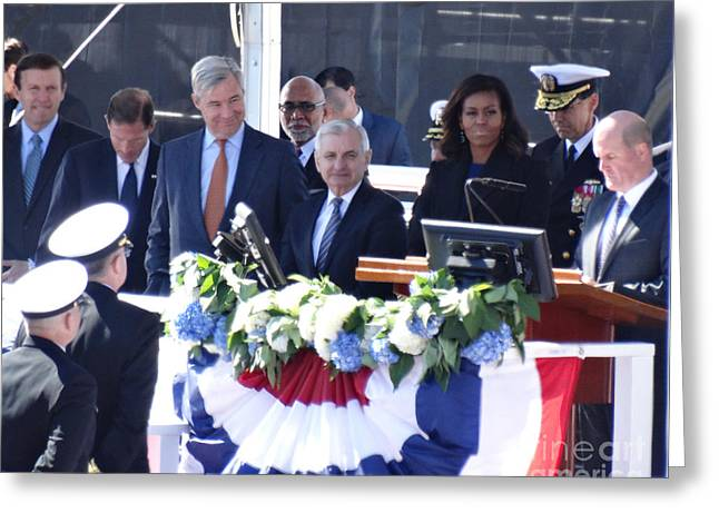 First Lady Michelle Obama At The Christening Of The Illinois Ssn 786 Greeting Card by Gina Sullivan