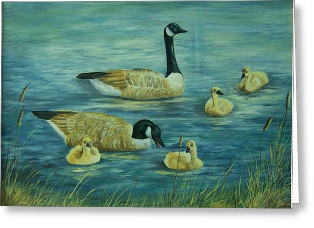 Baby Mallards Paintings Greeting Cards - First Lesson Greeting Card by Wanda Dansereau