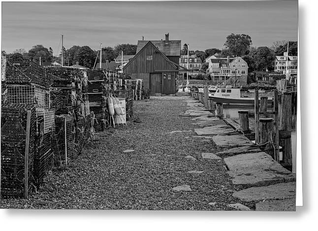 Wharf Greeting Cards - First Light At Motif Number One BW Greeting Card by Susan Candelario
