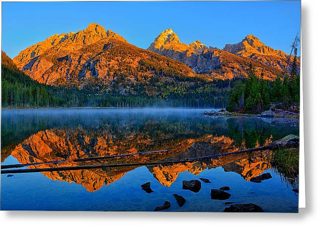 Grand Tetons Greeting Cards - First Light at Taggart Lake Greeting Card by Greg Norrell