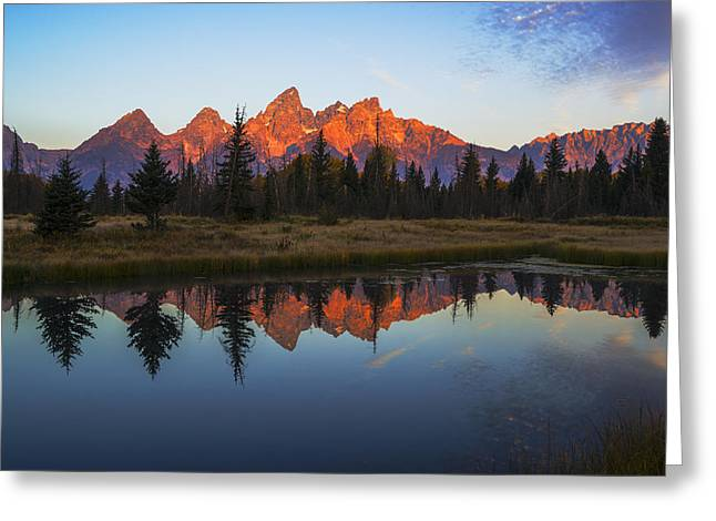 Reflections In River Greeting Cards - First light illuminating Tetons mountain range Greeting Card by Vishwanath Bhat
