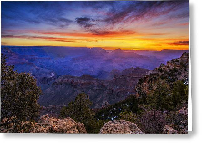 First Light In The Canyon Greeting Card by Andrew Soundarajan