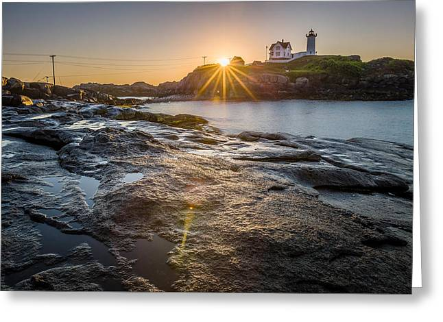 New England Ocean Greeting Cards - First Light Greeting Card by Jeremy Noyes