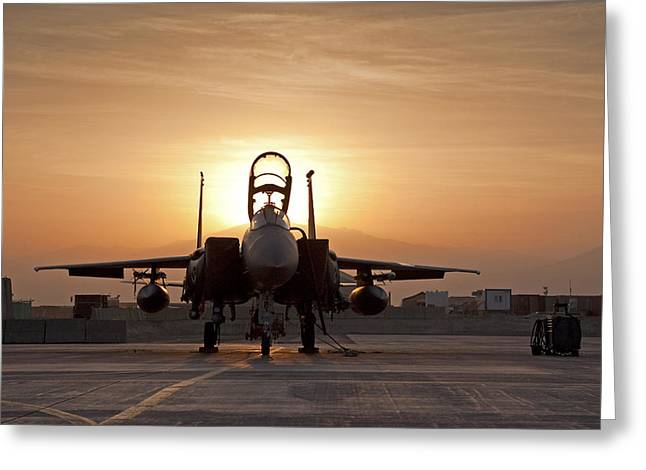 First Light On A Fighter Greeting Card by Tim Grams