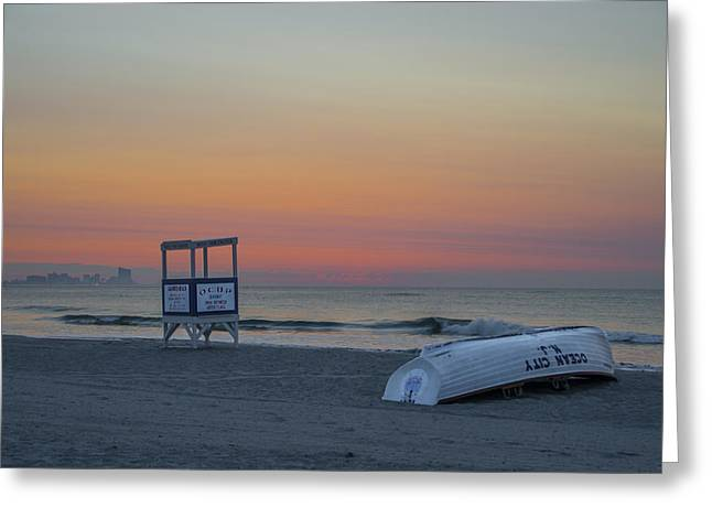Bill Cannon Photography Greeting Cards - First Light on Ocean City New Jersey Beach Greeting Card by Bill Cannon