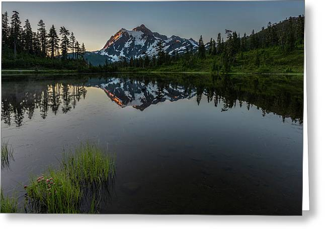 First Light On Picture Lake Greeting Card by Jon Glaser