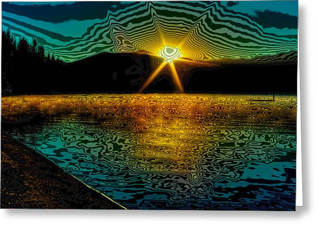 Boats On Water Digital Greeting Cards - First Light on Priest Lake Greeting Card by David Patterson