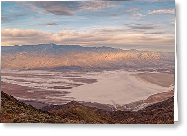 First Light On The Panamint Mountains From Dante's View - Death Valley National Park California Greeting Card by Silvio Ligutti
