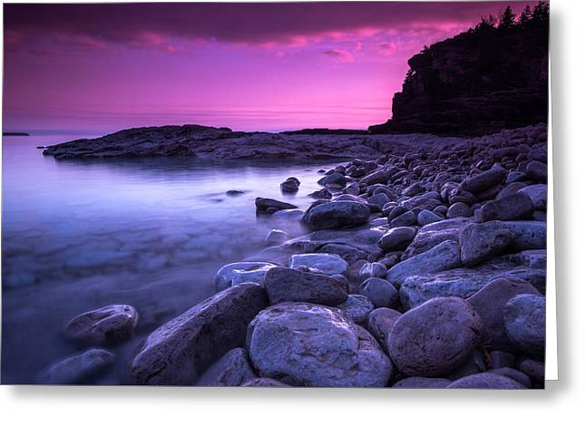 Rock Spring Trail Greeting Cards - First Light on the Rocks at Indian Head Cove Greeting Card by Cale Best