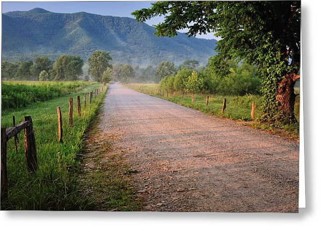 Gravel Road Greeting Cards - First Light - Sparks Lane at Cades Cove Tennessee Greeting Card by Thomas Schoeller