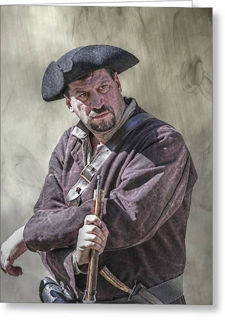 Flintlock Greeting Cards - First Line of Defense The Frontiersman Greeting Card by Randy Steele