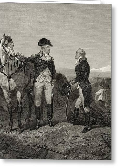 Fame Drawings Greeting Cards - First Meeting Of George Washington 1732 Greeting Card by Ken Welsh